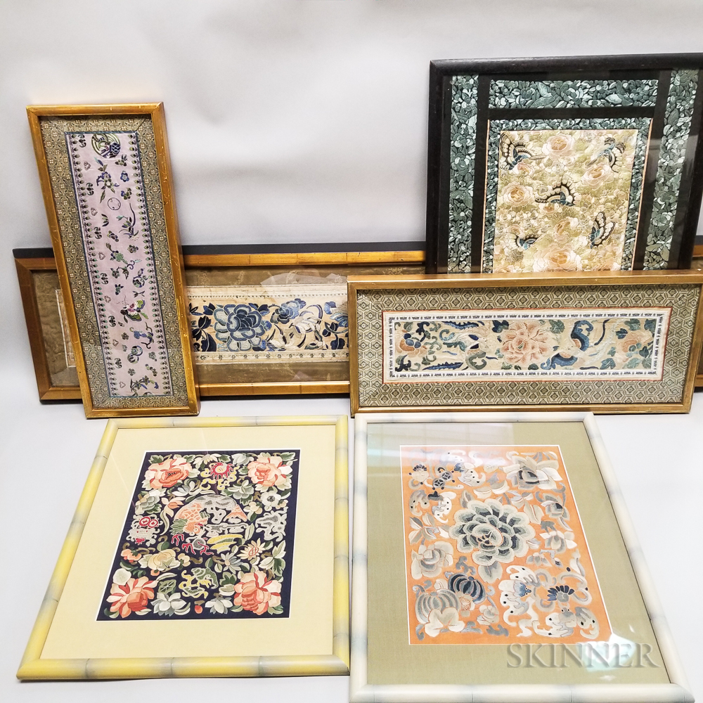 Six Framed Chinese Silk Embroideries.     Estimate $20-200