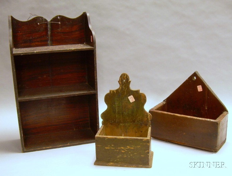 Grain-painted Wall Shelf and Two Wooden Wall Candle Boxes.