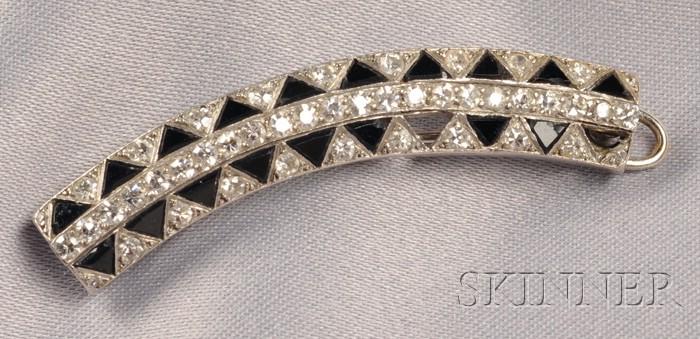 Art Deco Platinum, Onyx, and Diamond Hair Clip, Cartier, France
