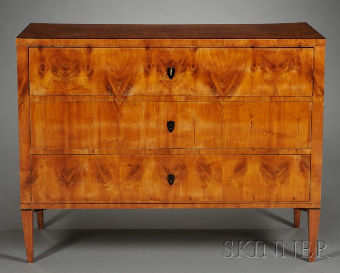 Biedermeier-style Flame Birch Veneered and Part-ebonized Chest of Drawers