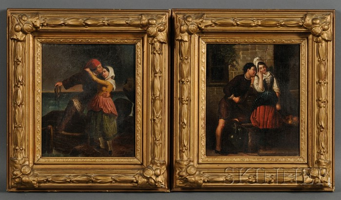 Continental School, 19th Century      Lot of Two Genre Scenes of Courting Couples