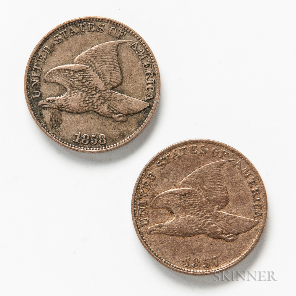1857 and 1858 Small Letters Flying Eagle Cents.     Estimate $20-40