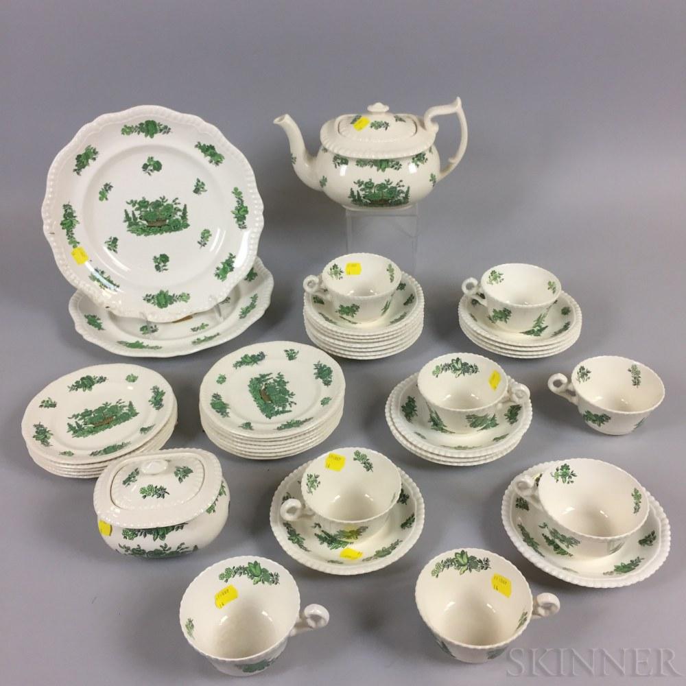 """Forty-seven-piece Set of Copeland Spode """"Green Basket"""" Porcelain Tableware"""