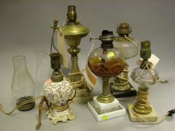 Five 19th Century Glass, Porcelain and Brass Table Lamps