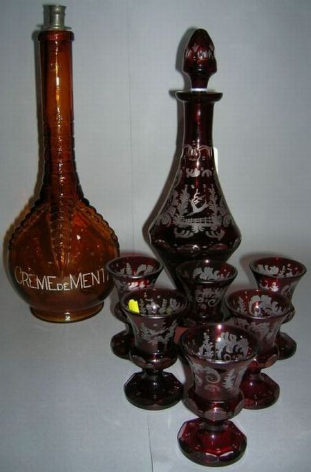 Seven-piece Bohemian Etched Ruby Flash Cordial Set