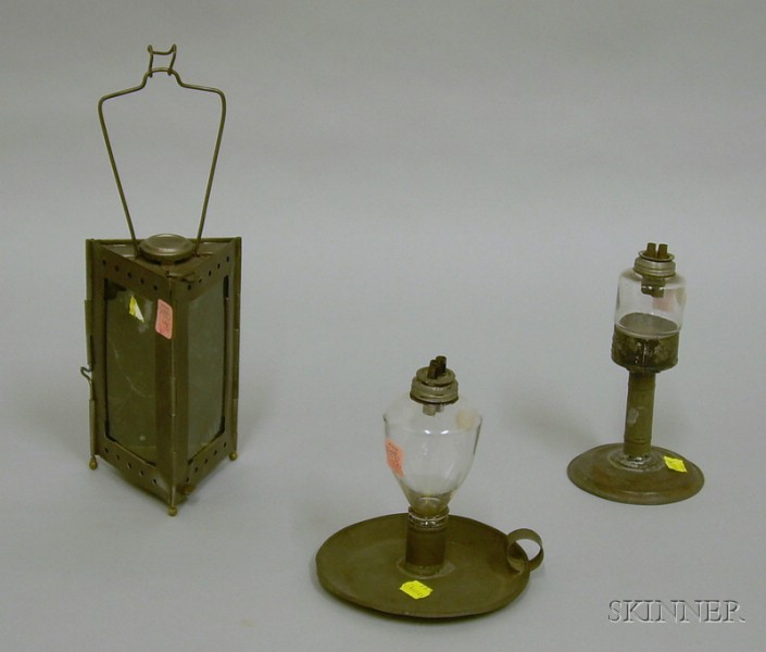 Tin Candlestick, Glass Lamp on Stand, and Make-do Glass and Tin Lamp.