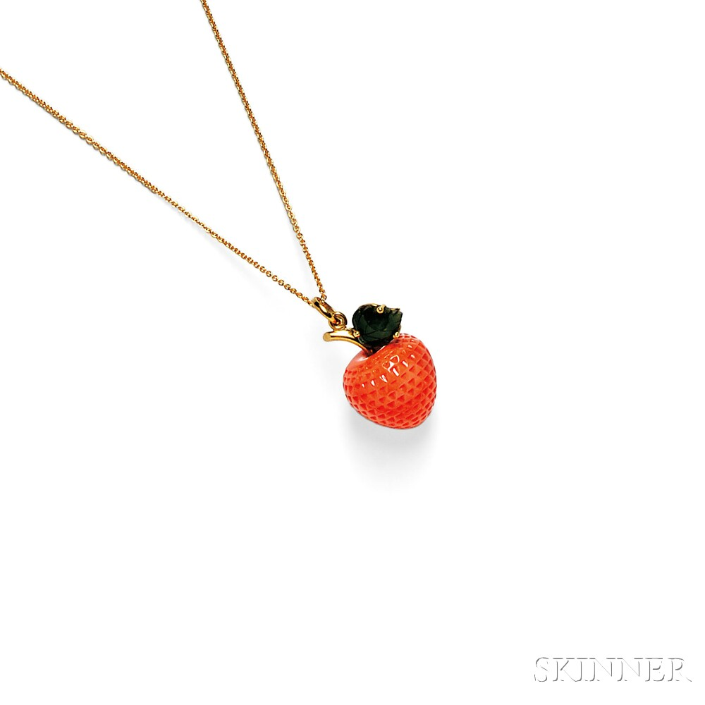 18kt Gold, Carved Coral, and Nephrite Pendant