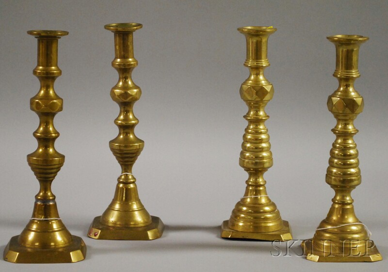 Two Pairs of Brass Candlesticks