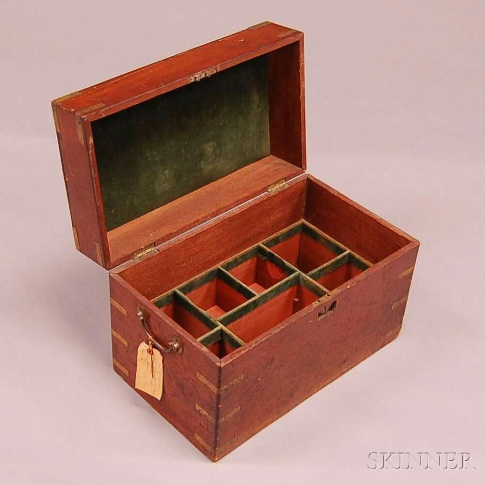 Brass-bound Mahogany Lidded Liquor Decanter Case
