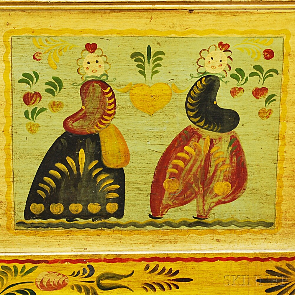 Peter Hunt-style Polychrome Paint-decorated Six-board Chest