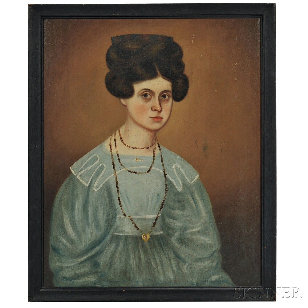 American School, Early 19th Century      Portrait of Mrs. D.A. Baldwin in Blue Dress with White Trim