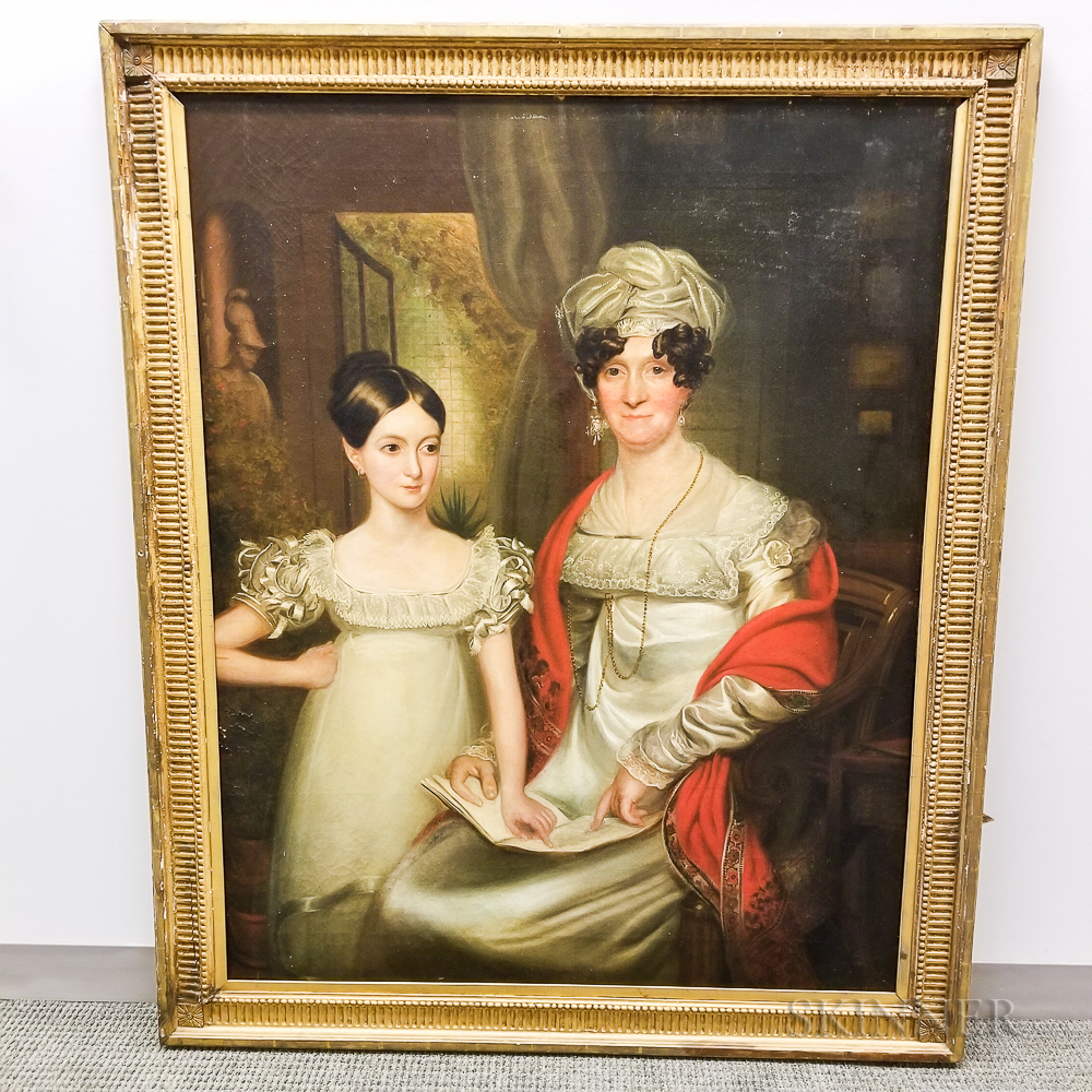 British School, 19th Century    Portrait of a Mother and Daughter Reading
