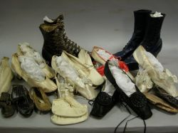 Small Collection of 19th Century Women's Silk and Leather Slippers and High Button   Boots