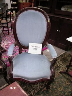 Victorian Rococo Revival Upholstered Walnut Parlor Armchair and a Victorian Walnut Stand.