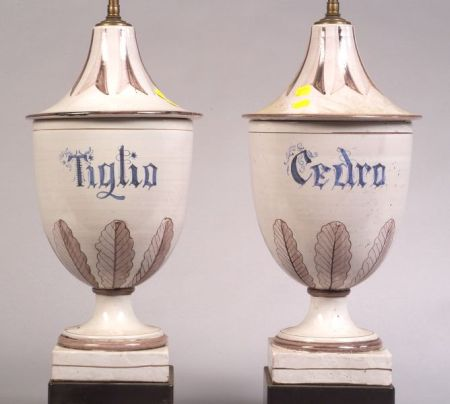 Pair of Tin Glazed Earthenware Apothecary Jar Lamp Bases