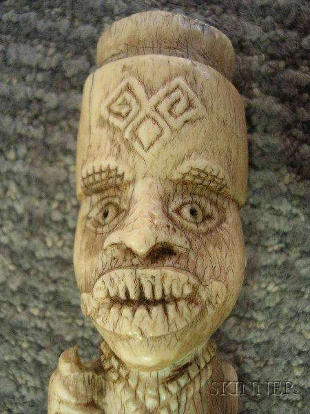 African Carved Ivory Fly Whisk Handle