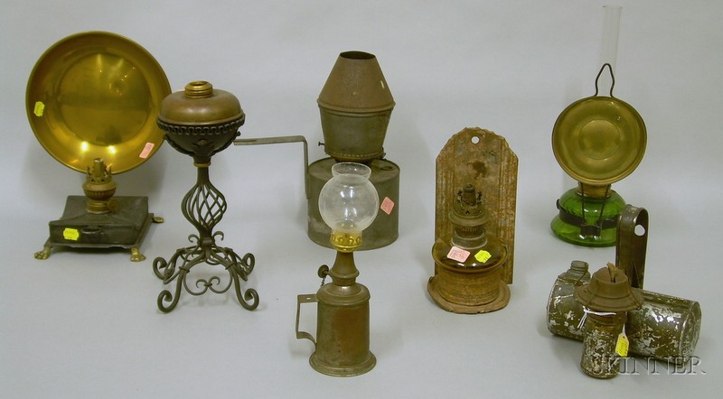 Seven Assorted 19th Century Lighting Devices