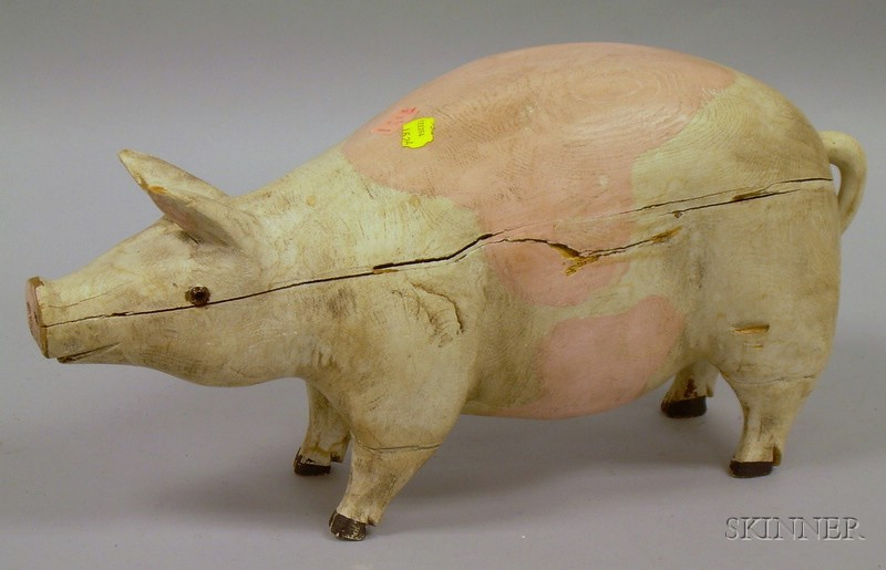 Folk Carved and Painted Wooden Pig