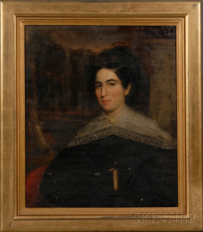 Anglo/American School, 19th Century      Portrait of a Young Woman in a Landscape with Column.