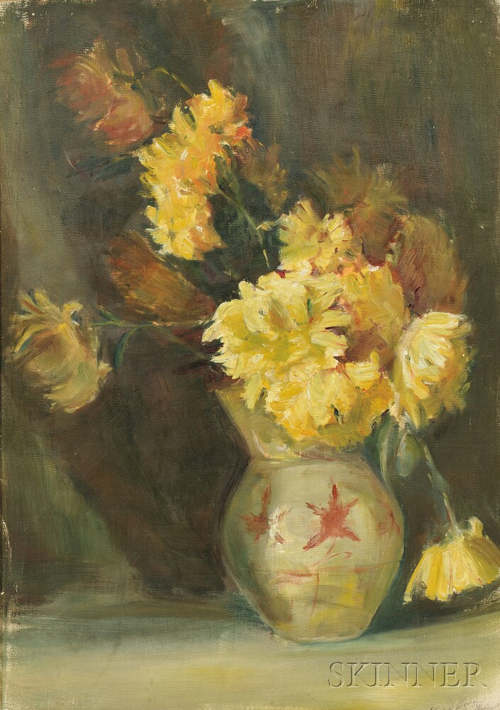 Anna S. Fisher (American, 1873-1942)      Still Life with Yellow Flowers in a Ceramic Vase.