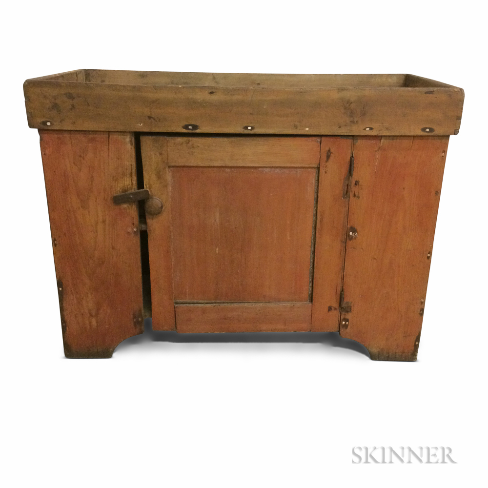 Country Red-painted Pine Dry Sink