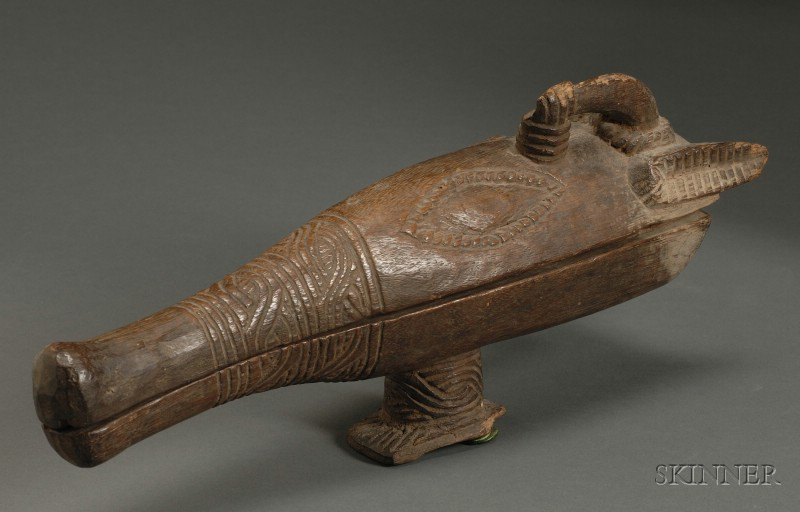 African Carved Wood Kola Nut Bowl