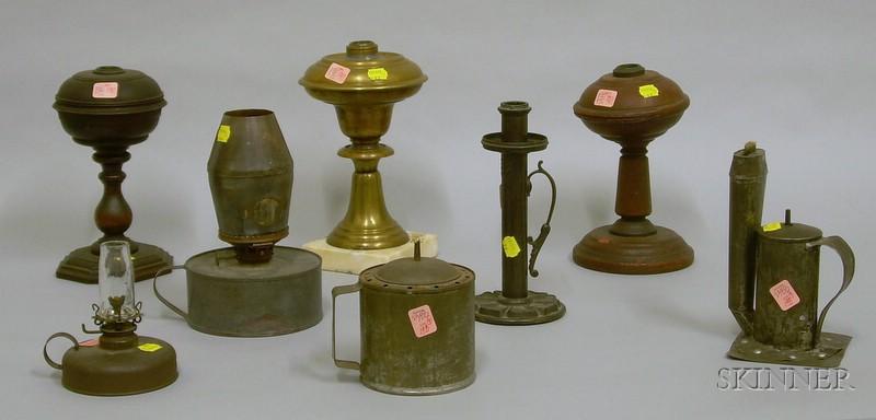 Nine Early Assorted Metal and Wood Lighting Devices