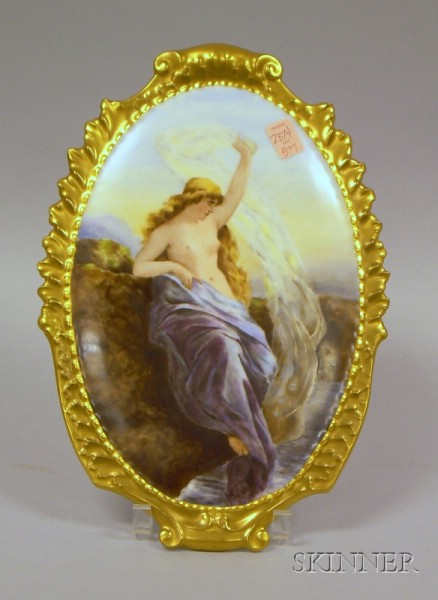 Gilt and Hand-painted Limoges Porcelain Plaque