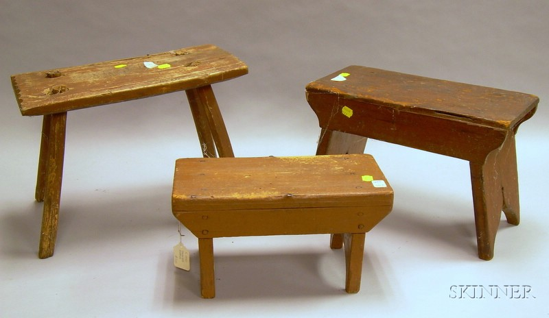 Three Country Wooden Crickets and Stools