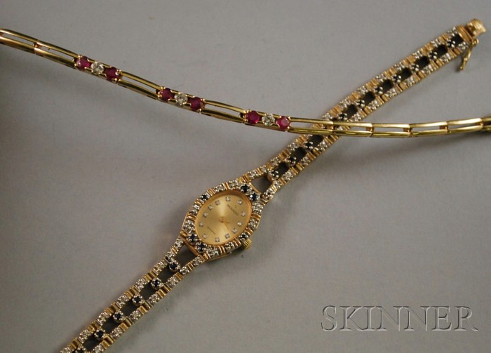 Two 14kt Gold, Diamond, and Gemstone Jewelry Items