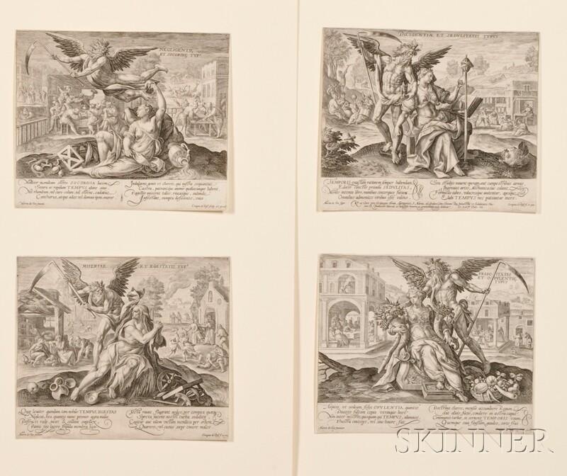 Crispin de Passe the Elder (Dutch, 1564-1637), After Marten de Vos (Flemish, 1532-      1603)    Four Plates from Fortune
