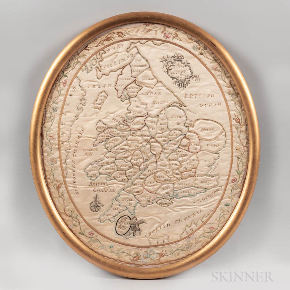 Silk Needlework Map of England