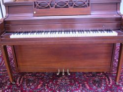 Steinert Mahogany Spinet Piano with Bench.