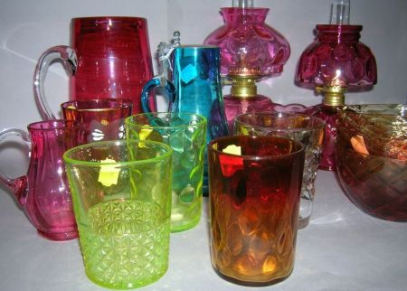 Group Colored Art Glass Table Articles