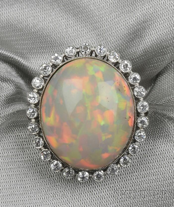 Platinum, Opal, and Diamond Ring