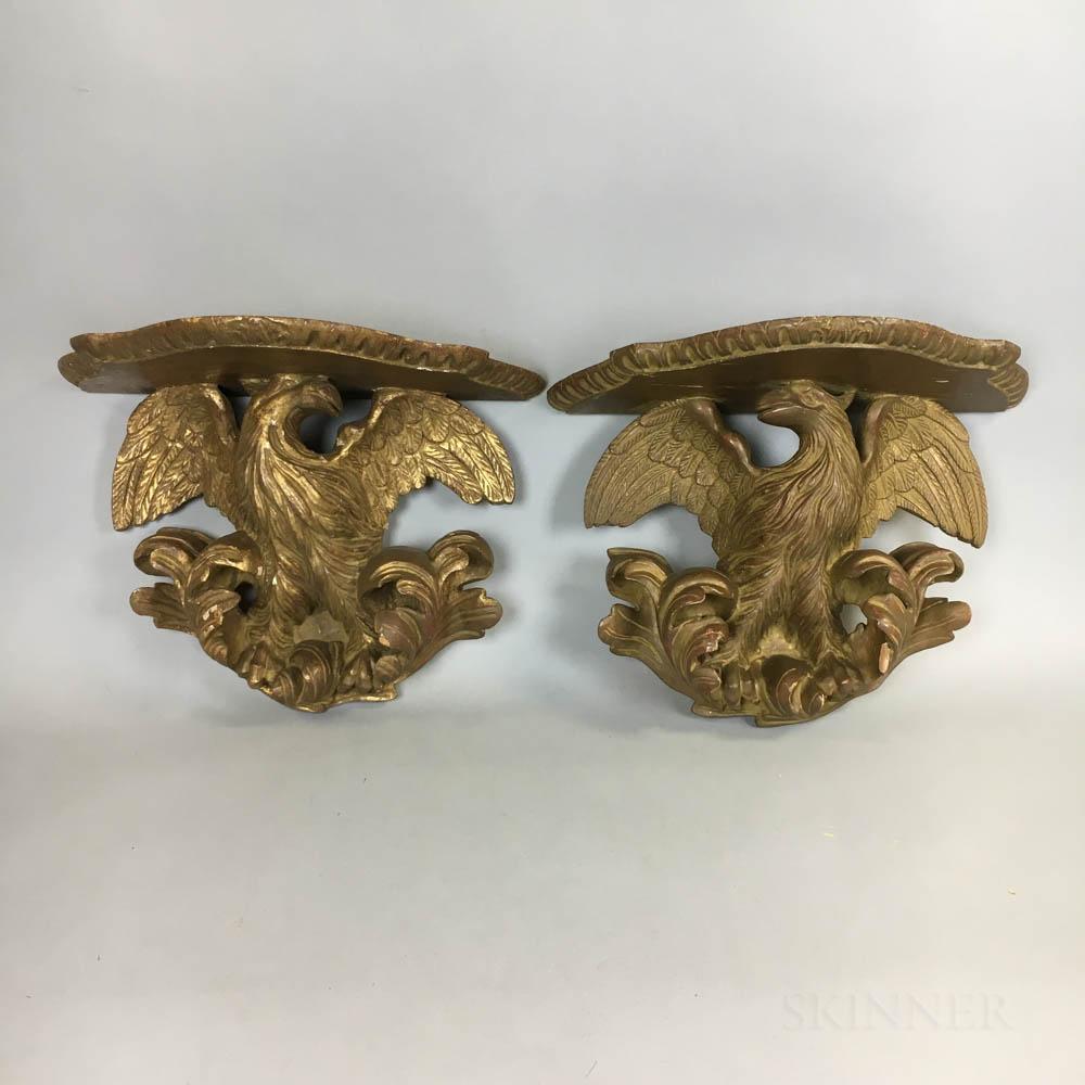 Pair of Carved Gilt Eagle Brackets