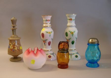 Six Pieces of Late Victorian Art Glass