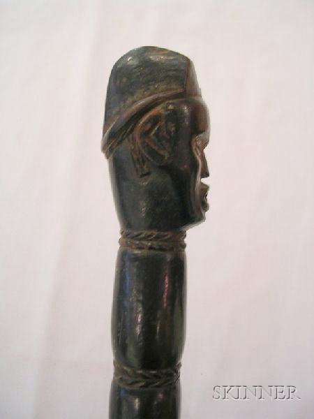 African Carved Wood and Metal Adze