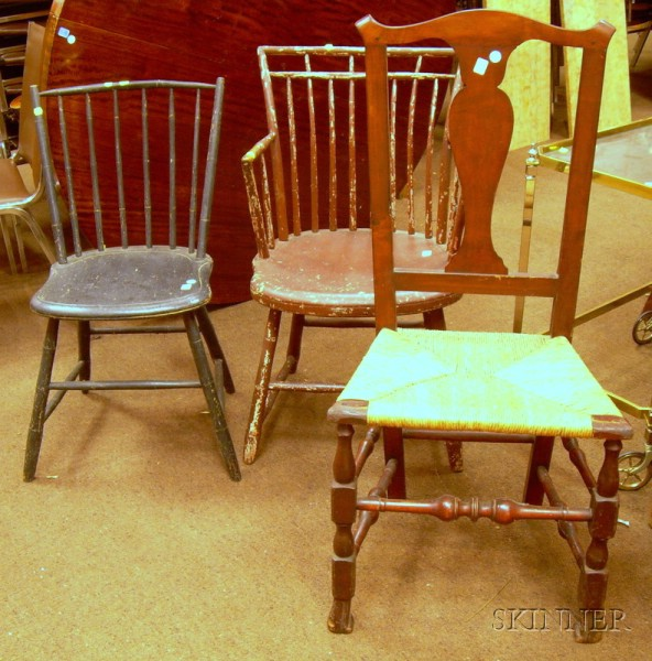 Chippendale Maple Side Chair with Turned Legs and Spanish Feet, a Red-painted Windsor Birdcage Armchair, and Bl...