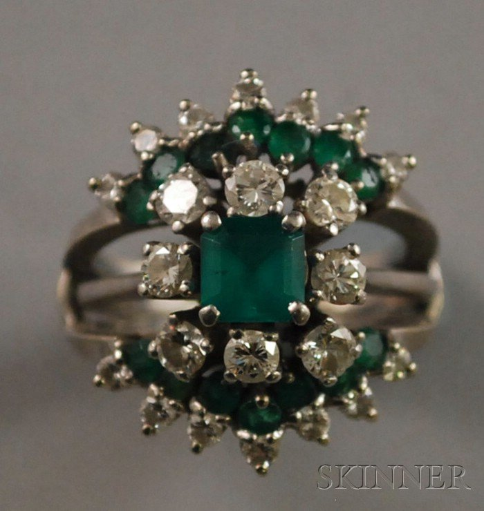 Platinum, Emerald, and Diamond Ring and Matching Ring Guard
