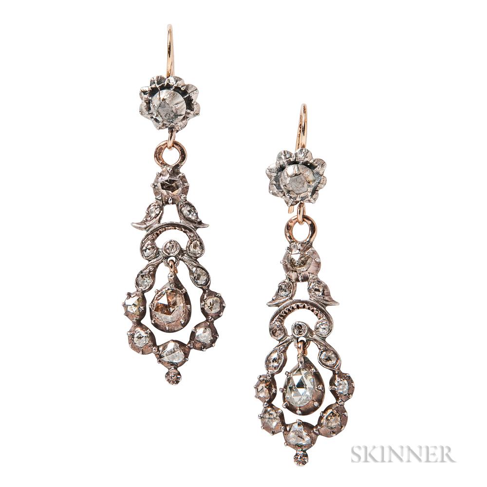 Antique Rose-cut Diamond Earrings