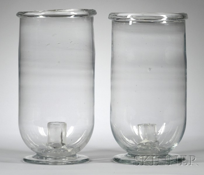 Pair of Large Colorless Blown Glass Hurricane Candleholders