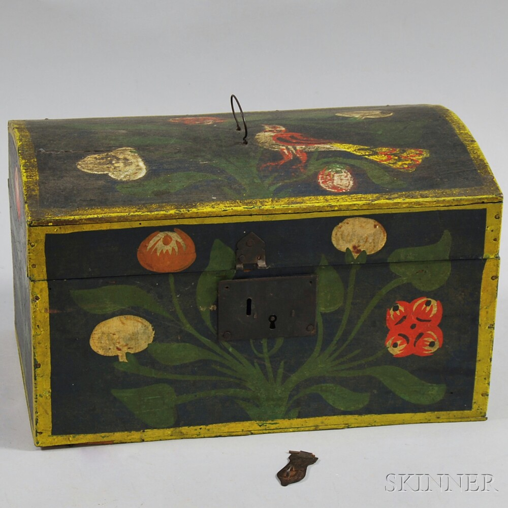Paint-decorated Dome-top Document Box