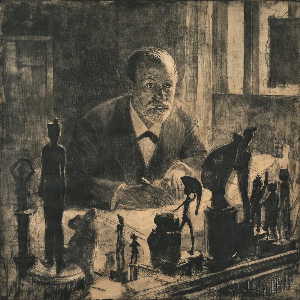 Max Pollak (Czech/Austrian, 1886-1970) Portrait of Sigmund Freud ...