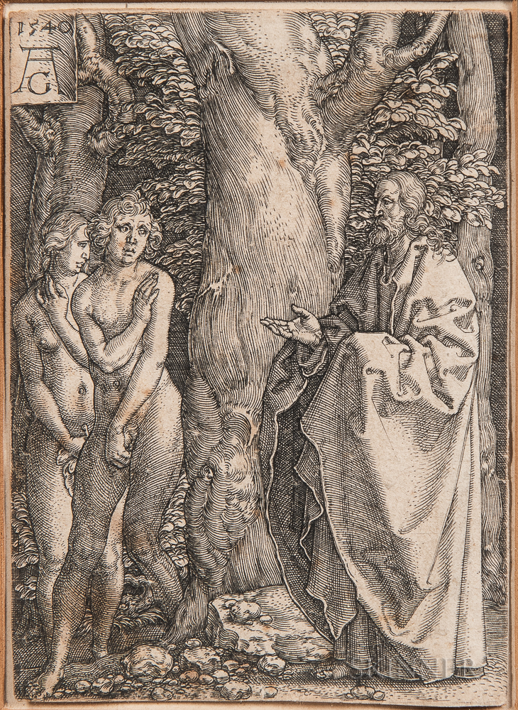 Heinrich Aldegrever (German, 1502-c. 1561)      Adam and Eve with Christ