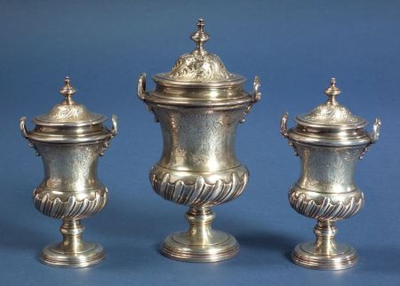 Set of Three George II Silver Casters