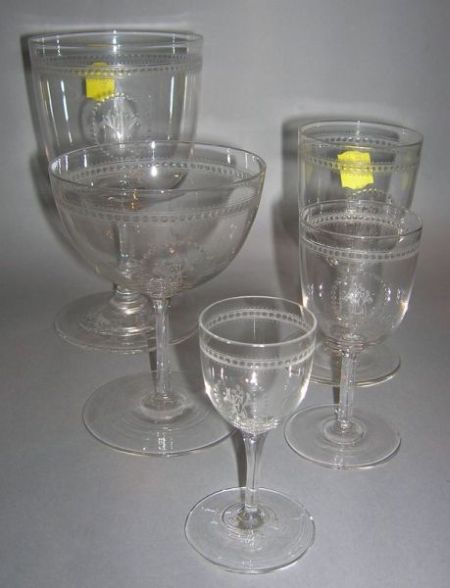 Set of Forty-eight Anglo Colorless Etched Glass Stems