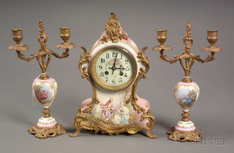 """""""Sevres"""" Louis XV-style Three Piece Porcelain and Ormolu Mounted Clock Garniture"""