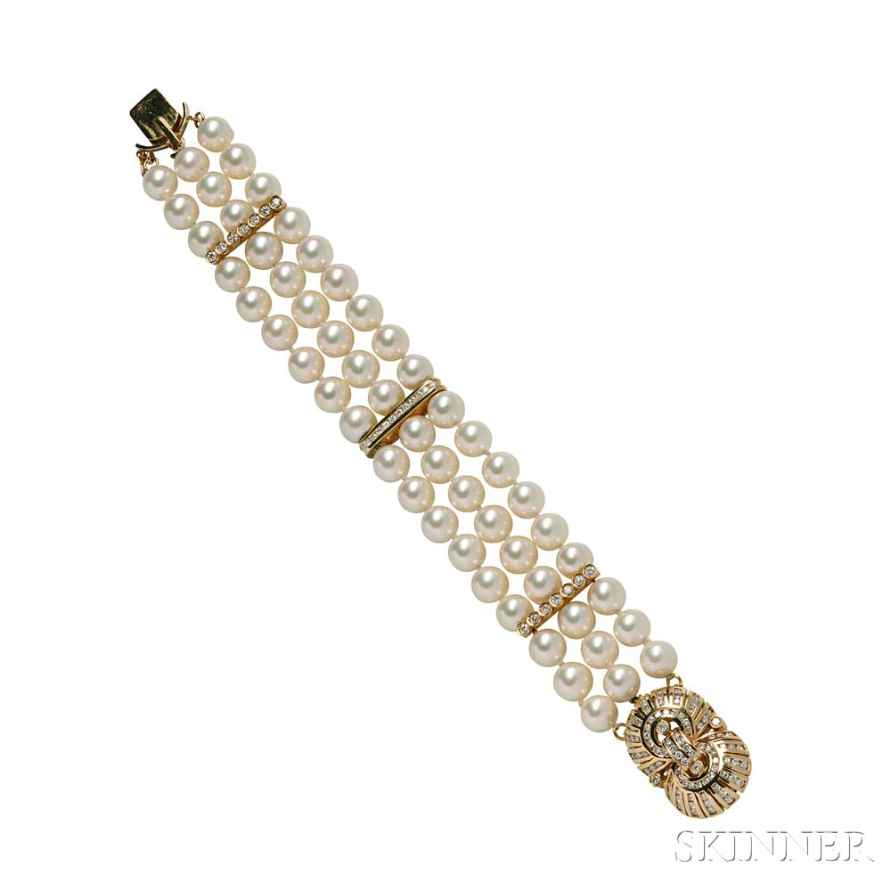 18kt Gold, Diamond, and Cultured Pearl Bracelet