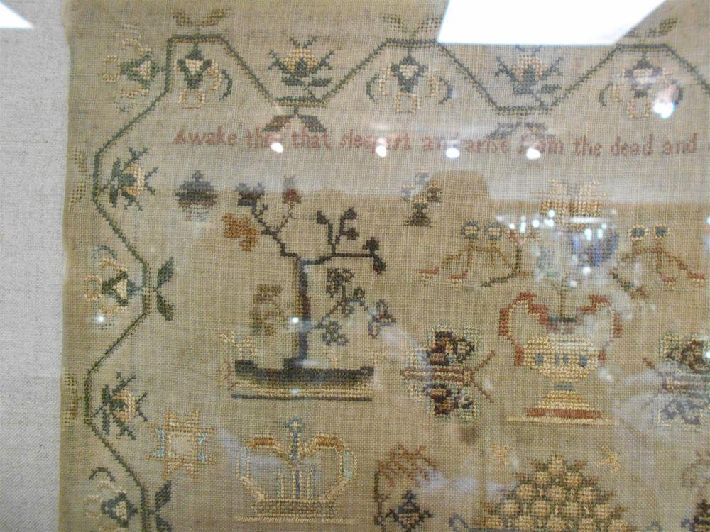 Framed British Needlework Sampler